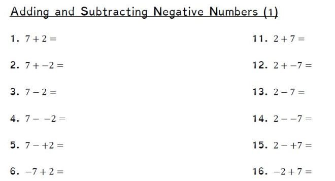 adding and subtracting negative numbers minimally different