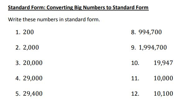 big numbers to standard form