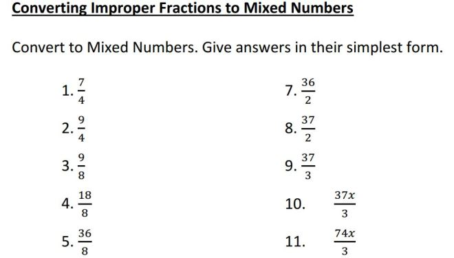 converting improper to mixed