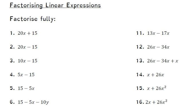 facotrising linear