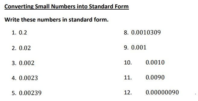 small numbers to standard form