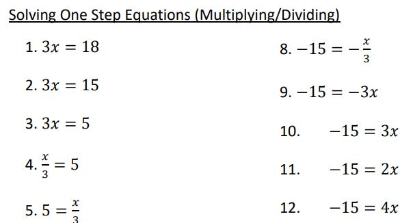 solving one step multiplying dividing