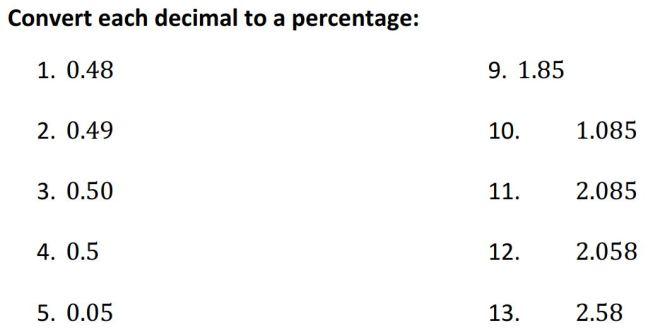 convert decimals to percentage