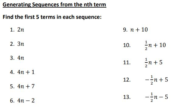 generating sequences from the nth term