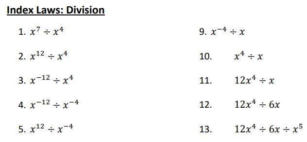 index laws division