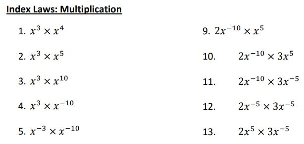 index laws multiplication