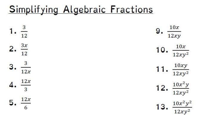 simplifying algebraic fractions 1