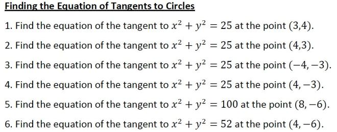equations of tangents to circles