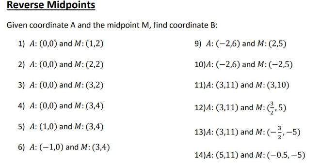 reverse midpoints